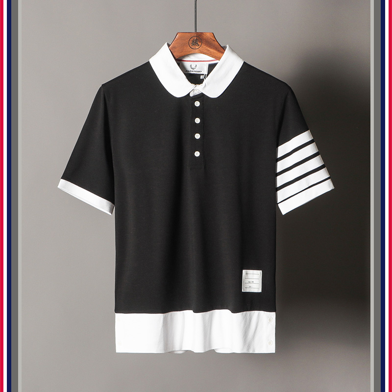 High New Luxury 19ss Men Golden Embroidered striped Fashion   Polo   Shirts Shirt Hip Hop Skateboard Cotton   Polos   Top Tee #G28