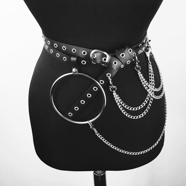 063a2e884 New Metal Chain Goth Suspender Waist Belt Black Gothic Body Belt Caged Women  Big O-