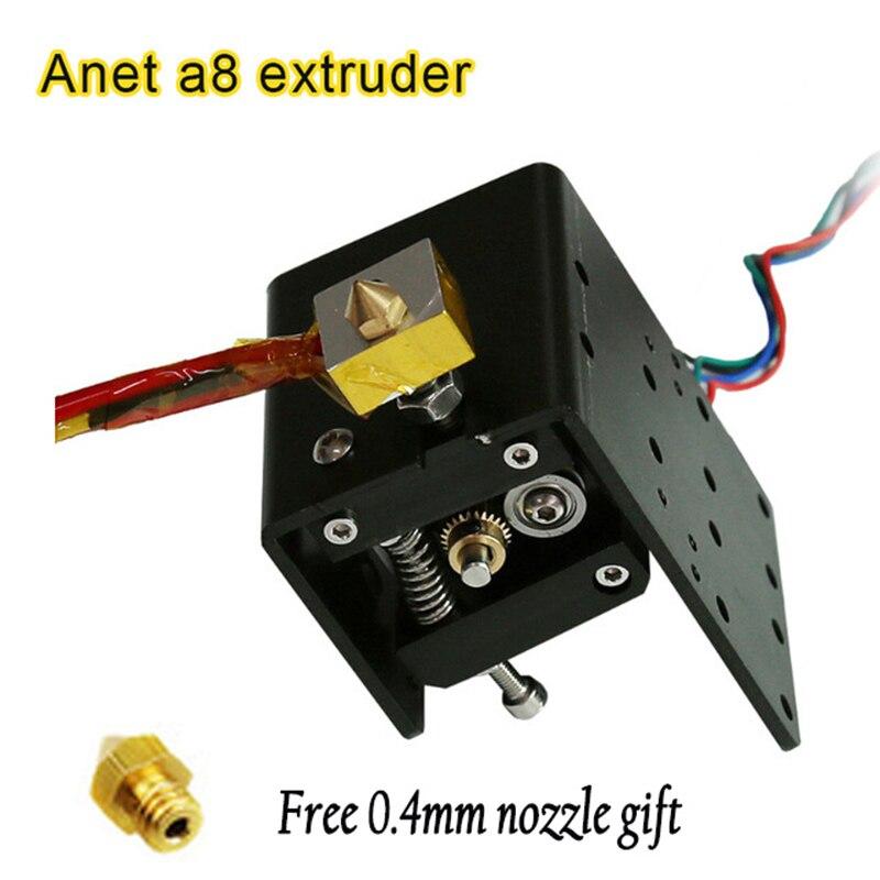 цена на Anet A8 MK8 Extruder kits Motor 3d printer Parts J-head Hotend I3+free 2pcs 0.4mm Nozzles 1.75/3mm abs/pla Fastest Logistics