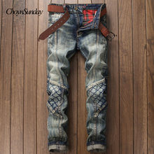 ChoynSunday European-style American fashion designer brand jeans men's luxury casual jeans jeans white Straight Thin jeans men(China)