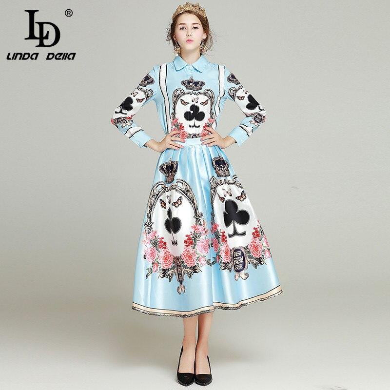 LD LINDA DELLAHIGH QUALITY New Fashion Runway 2017 Designer Suit Set Women's print Turn-down Collar blouse +print skirt Suit Set