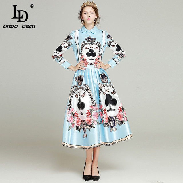 LD LINDA DELLAHIGH QUALITY Runway Suit Set print Turn-down Collar blouse +print skirt Suit Set