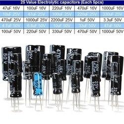 Total 125 pces 1 uf-2200 uf 25 v/50 v 25valuesx5pcs capacitores eletrolíticos conjunto sortido