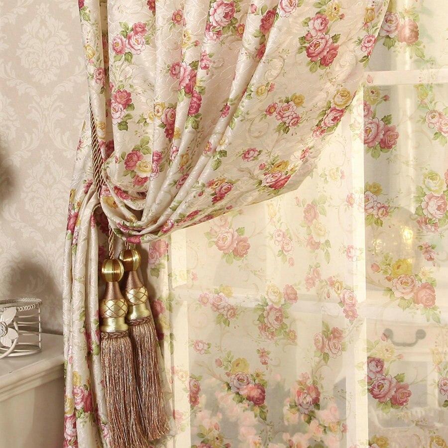 Cretone recomendado nova flor cortinas sala de estar quarto coreano jardim casamento em pequena menina