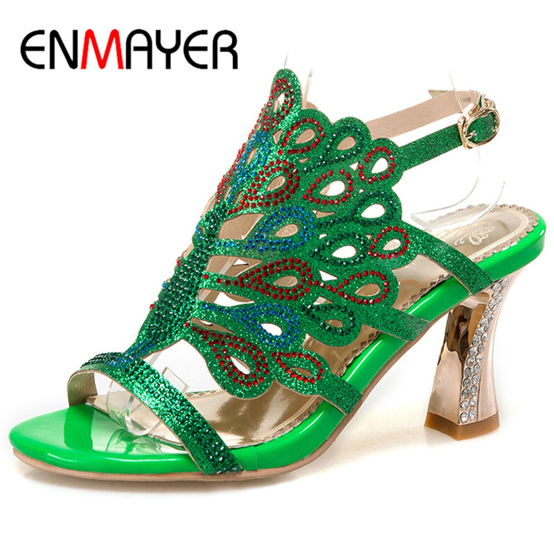 ФОТО ENMAYER Comfortable Shoes for Women Superstar Shoes Top Quality 2017 High Heels Open Toe Summer Sandals Ankle Wrap Plus Size 46