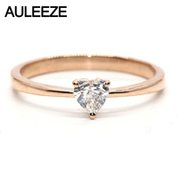 Solitaire Heart Shape Natural Real Diamond Ring Solid 18k Rose Gold Band 0.25ct Natural Diamond Rings For Women Jewelry Gifts