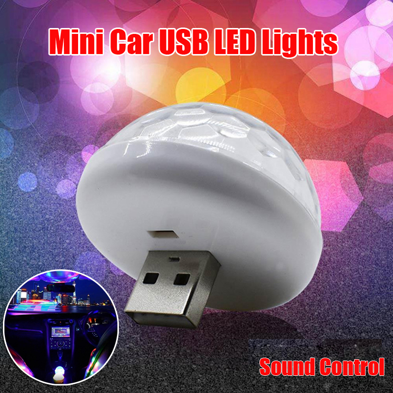 Car USB Socket Mini LED Colorful Atmosphere Lights Sound Control Luminous 3W 5V Truck Light System Accessories Car Light