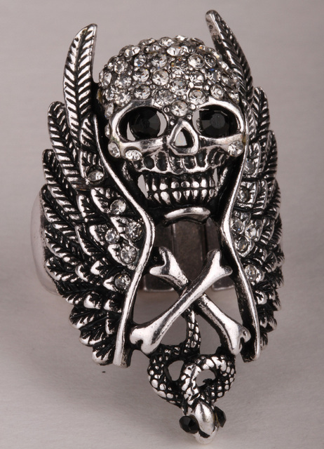 brixini.com - Skull Wings Cross Snake Stretch Ring