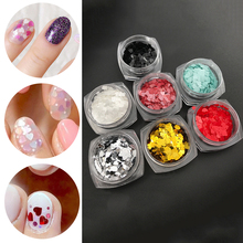 Nail Art Jewelry Laser Flash Sticker Color DIY Sequins Blend Red Peach Heart Slim Love