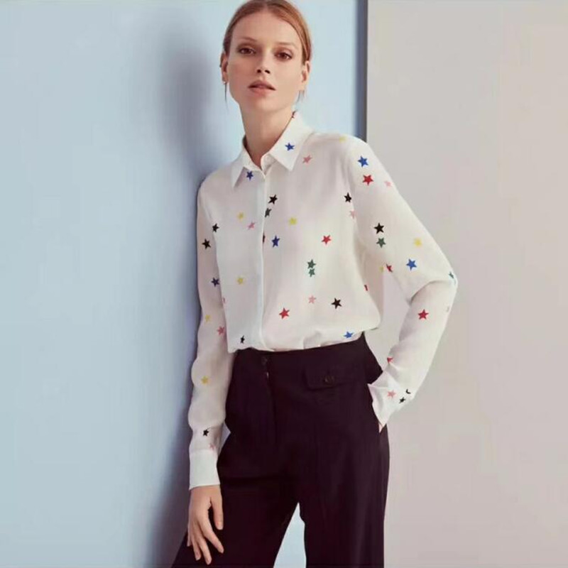 Women Colorful Five Star Print Long Sleeve Silk   Blouse     Shirt