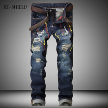 Streetwear Splash Ink Mens Ripped Biker Jeans Brand Designer Distressed Moto Jeans Pants Male Slim Fit