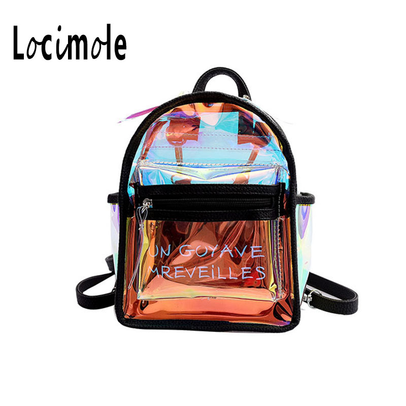 Locimole Transparent Women Backpack Small Laser Clear Backpacks Anti Theft School Bagpack For Teenager Mochilas LBIA246 PM49