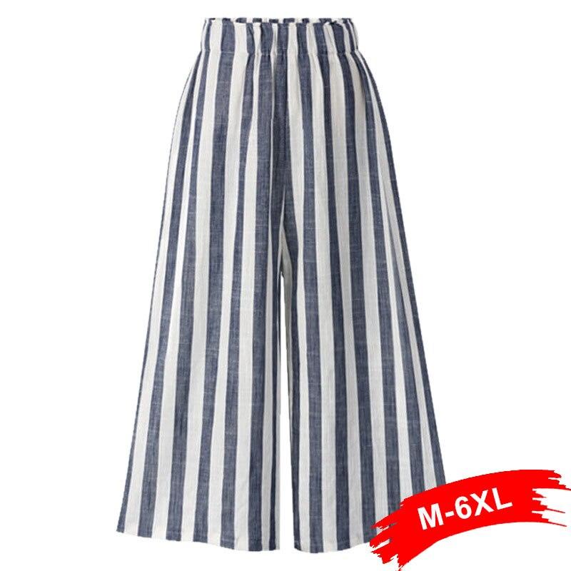 Plus Size Elastic Waist Wide Leg Cotton And Linen Stripe   Pants   3Xl 4Xl 6Xl Spring Summer Beach High Waist   Capris   Trousers