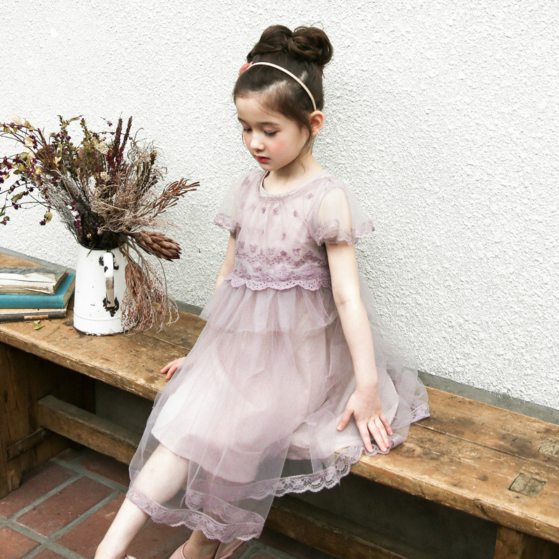 New 2017 Girls Lace Dress Baby Mesh Patchwork Dress Children Princess Dress Kids Summer Florals Beautiful Dress,3-10Y