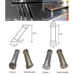 2Pcs Ad Angolo Verticale di Bar per La Colazione Palo di Sostegno Colla Cucina In Legno di Supporto Mensola Mensola di Vetro Chrome Nickel Spazzolato