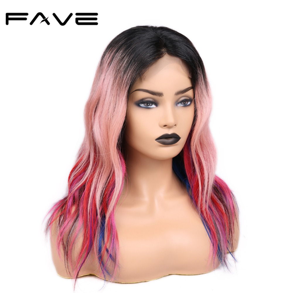 FAVE Hair 4*4 Lace Closure Rainbow Color Wave Wigs Pre Plucked Hairline Brazilian Remy Human Hair Wigs For Women's Party
