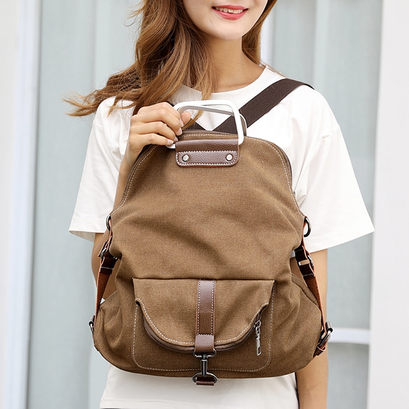 Women Canvas Backpack 9142 Vintage Rucksack College Shoulder School Bag Daypack Multifunctional retro canvas shoulder bag cube page 5
