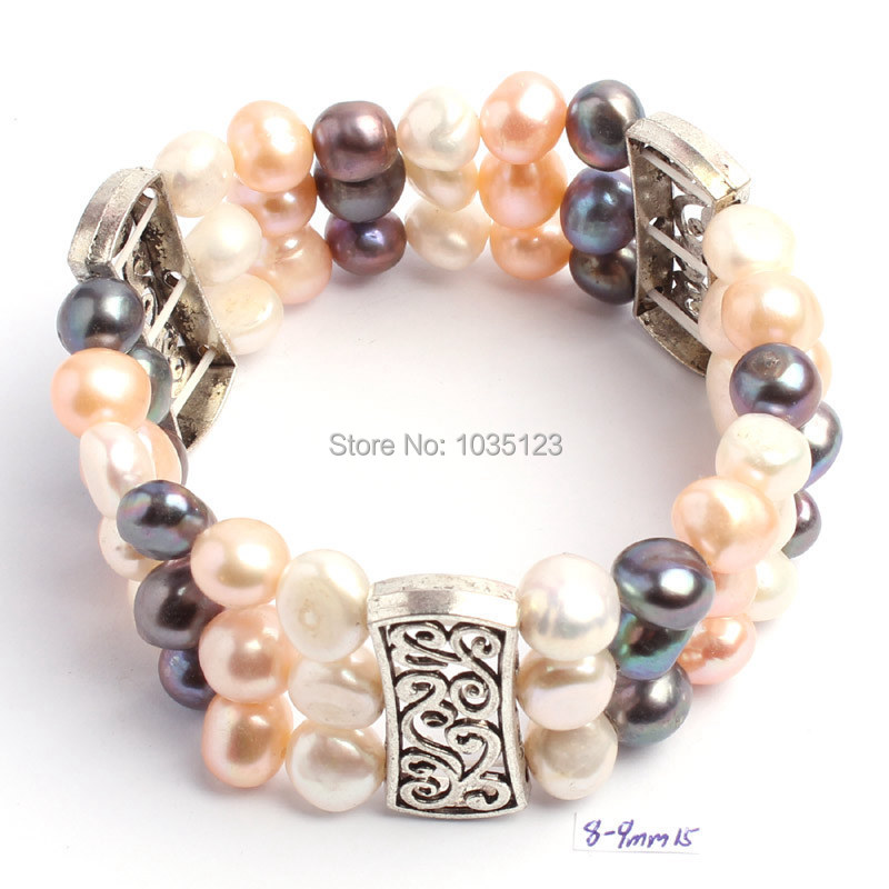 Free Shipping Pretty 8-9mm Natural White Pink Black Freshwater Pearl Fashion Elasticity Bracelets Jewelry w1111