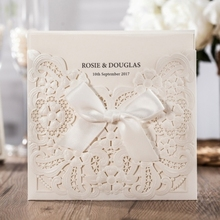 WISHMADE 52017 New Wedding Invitations Cards with Bowknot Pearl White Hollow Floral For Birthday Party Customizable CW6112