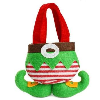 20pcs Elf pants style Candy Bags Christmas Gift Bag Xmas Bag for Children Christmas Decoration Supplies