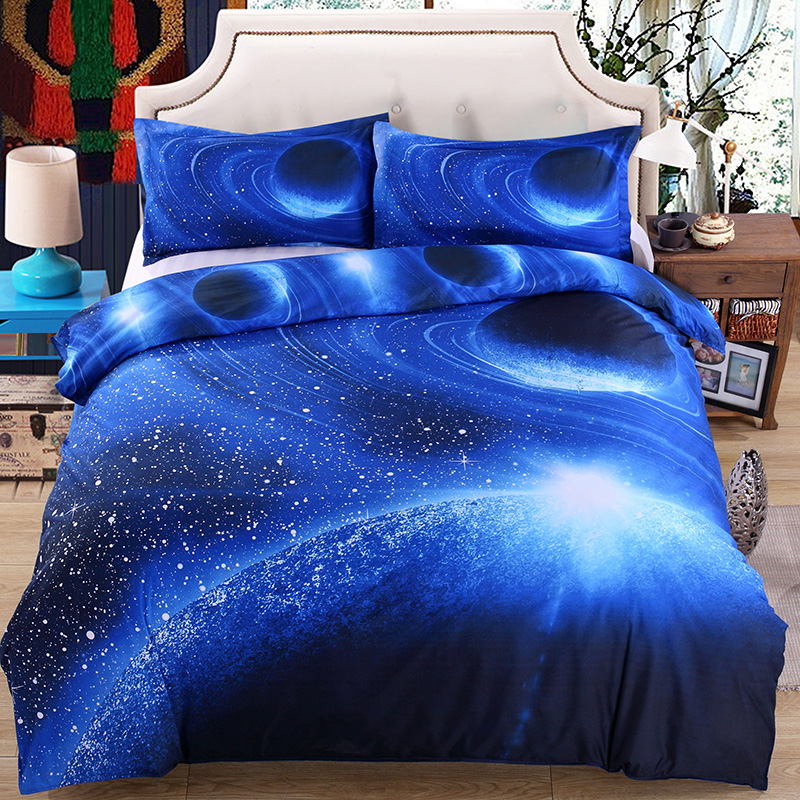 New 3D Print Galaxy Universe Bedding Set For Teen Boy Blue Starry Sky  Zipper Duvet Cover Flat Sheet With 2 Pillowcases Bed Linen In Bedding Sets  From Home ...