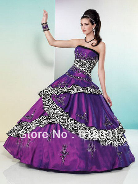 fccbef54b107 Popular strapless embroidery with black 2014 purple sweet 15 zebra printed  quinceanera ball gown dress STYLE MQ-17