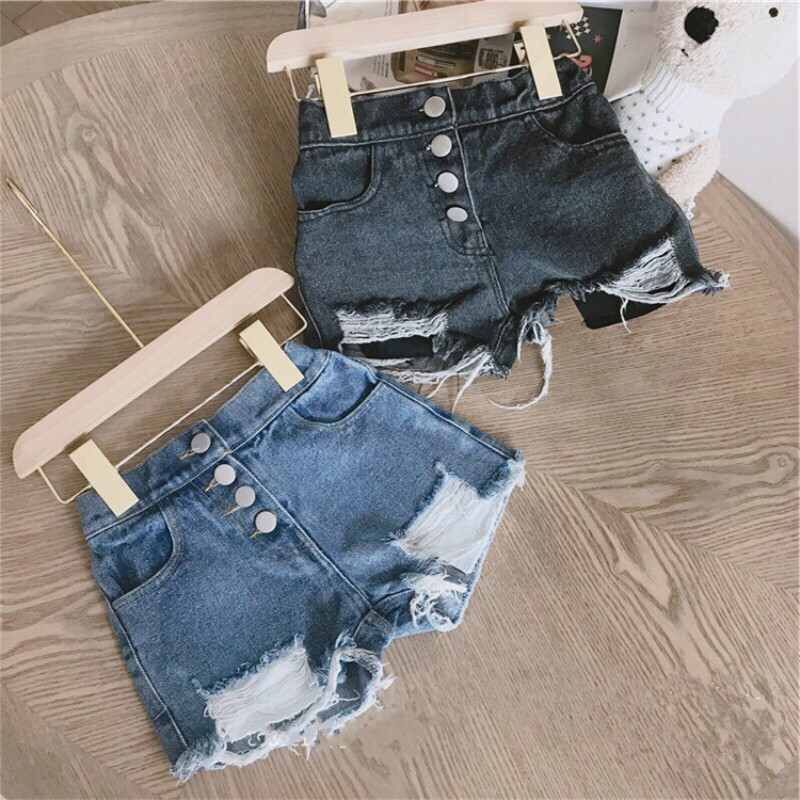 Kids Girl Short Jeans Pants Baby Girls Ripped Jeans Shorts Fashion Children Buttons Cowboy Hot Pants 2-8 Years Baby Girl Clothes
