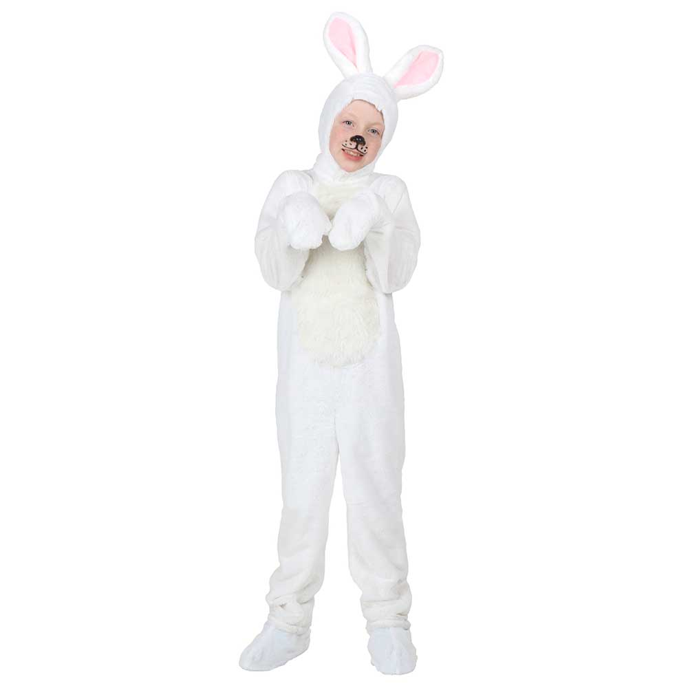 Baby Bunny Costume Kids Animal Onesies White Rabbit Fancy Animal Costume Jumpsuit Pajamas Children Toddlers Size 2-12 Years Old