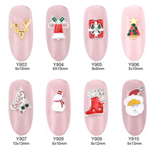 10pcs 16 designs christmas nail art decorations nail studs snowman alloy 3d glitters art nail unas jewelry supplies Y903~918