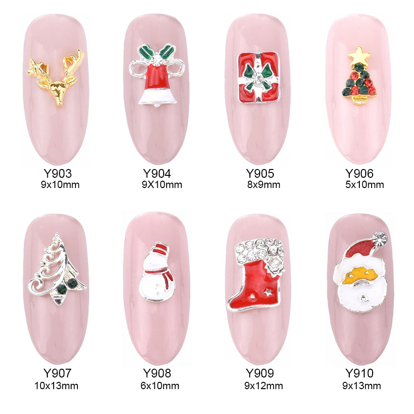 10pcs 16 designs christmas nail art decorations nail studs snowman alloy 3d glitters art nail unas jewelry supplies Y903~918 дизайн ногтей essence трафарет для штампа nail art stampy designs 01
