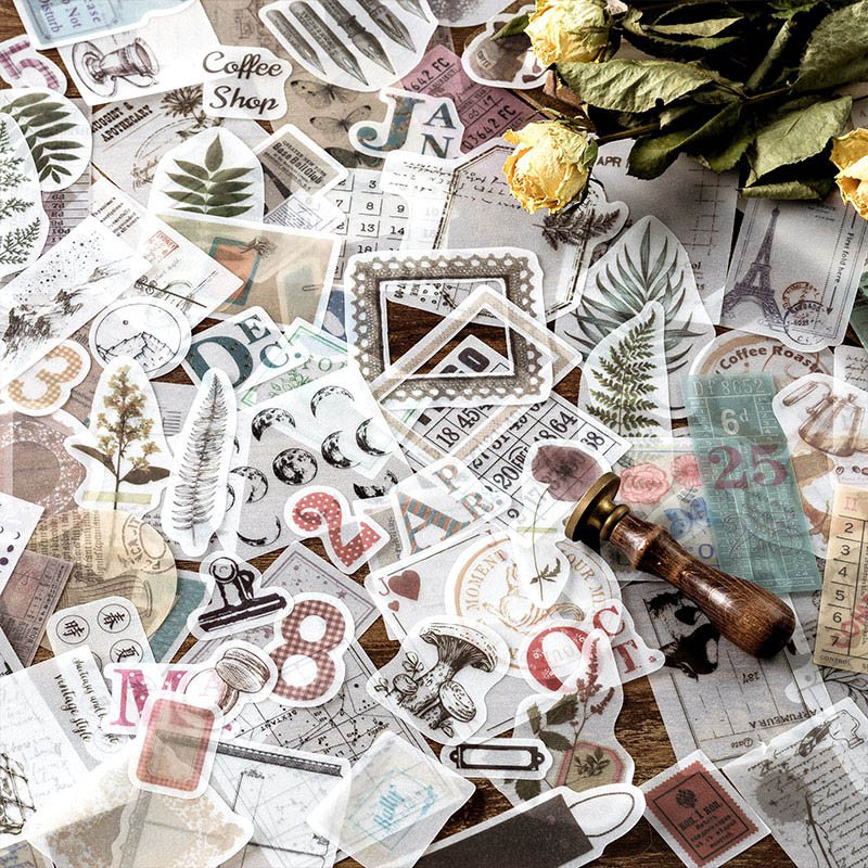 50Pcs Retro Date Label Stickers Plant Stationery Stickers Adhesive Kraft Paper Sticker For Kid Decor Scrapbooking Diary Supplies