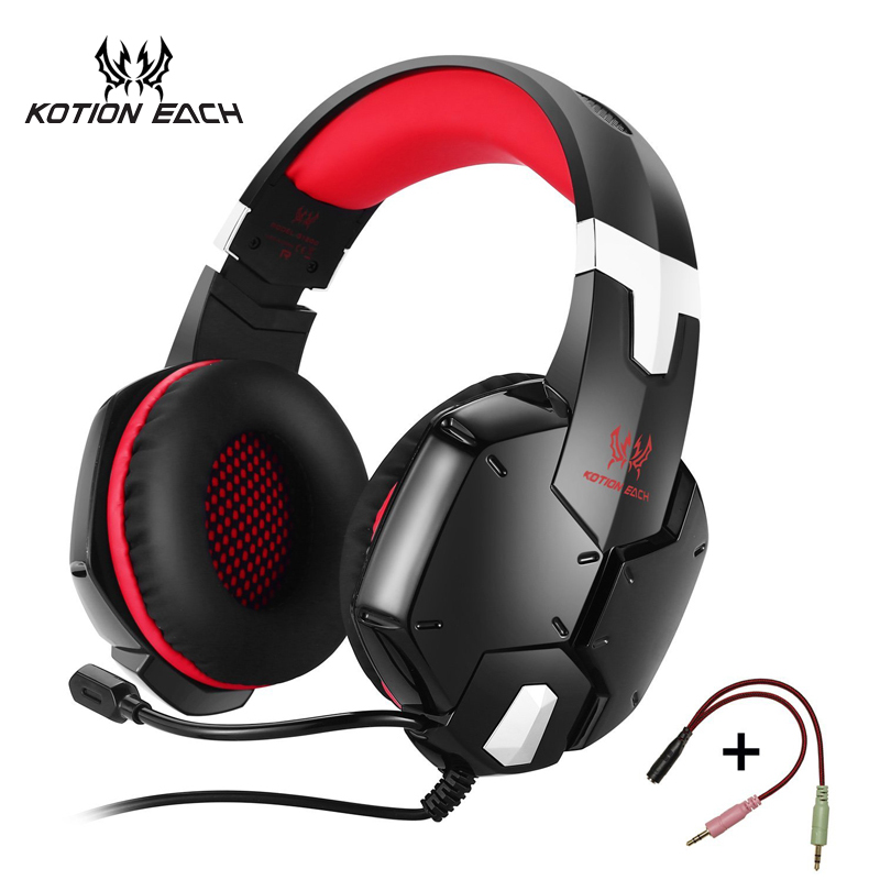 KOTION EACH Gaming Headphone KOTION EACH 3.5mm Game Headset Headband Headphones with Mic Microphone for PC Laptop Cell Phone