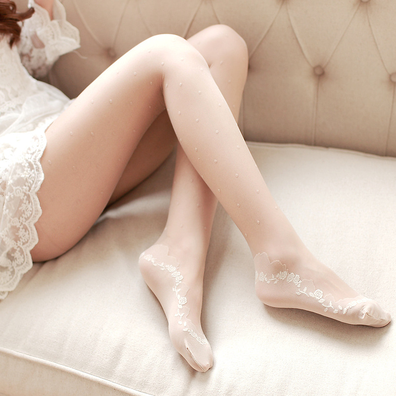 Summer Women Ultra Sheer Pantyhose Breathable jacquard pantyhose stockings Thin female Lolita lace stockings Bottoming tights