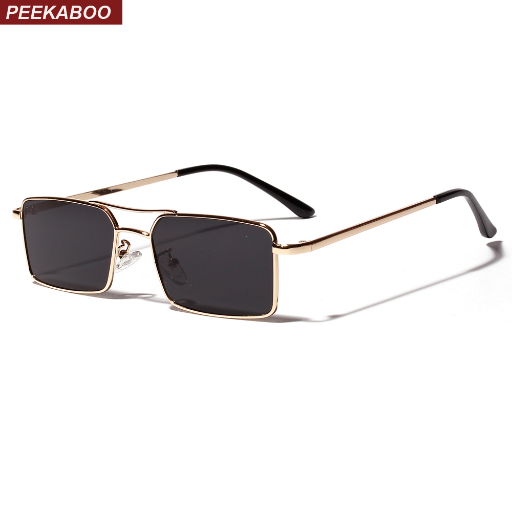 Peekaboo Gold Rectangular Sunglasses Men 2019 Metal Frame Men Retro Small Square Sun Glasses For Women Retro Uv400 Clear Lens
