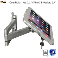 Secure Wall Mount Display Stand for iPad folding retractable holder brace specialized frame housing Anti Theft wall mount stand
