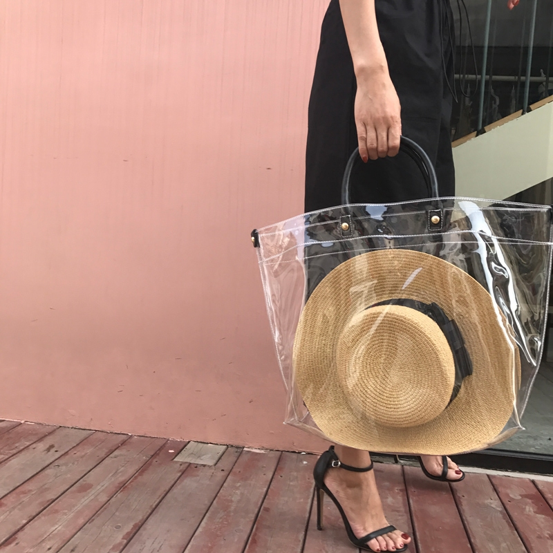 Fashion Large Transparent Women Tote Handbag Summer PVC Beach Bag Luxury Designer Bags Female Waterproof Purse Holiday Clutch toyoosky women summer crossbody bag pvc transparent composite bags set with purse waterproof quilted plaid beach handbags female