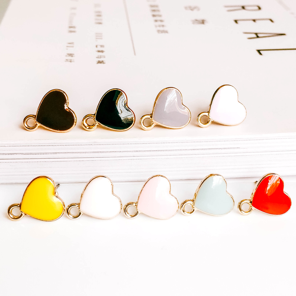 Stud Earrings Heart Shape Eardrop Accessories Supplies for Jewelry Component Diy Handmade Material 8pcs