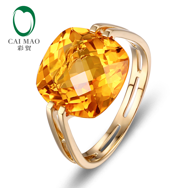 Caimao Jewelry 7 51ct Natural Square Cushion Citrine 14k Yellow Gold Ring Free Shipping