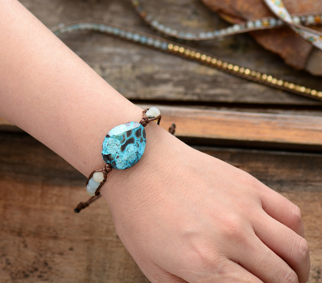 Unique Handmade Natural Stone Matte Amazonite Beaded Woven Wrap Bracelet