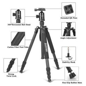 Image 4 - Zomei Z818C Carbon fiber Professional Travel Portable Camera Tripod Ball Head Tripod Stand for Canon Nikon SLR DSLR camera