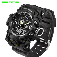 Top Brand Luxury SANDA Men Digital LED Military Watches Men S Analog Quartz Digital Watch Outdoor