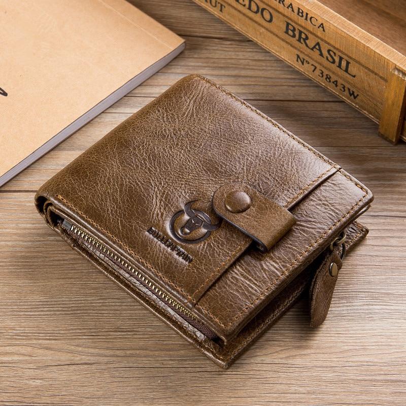 b95d3b50797d1 Echtes Leder Männer Brieftasche Reißverschluss   Haspe Männer Wallet Kurz  Männlich Kupplung Multifunktionale Rindsleder Geldbörse Kreditkarte fall