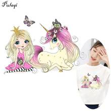 Cartoon Unicorn Stickers DIY Sticker Iron On Transfers For Clothing Heat Transfer Patches In Clothes F