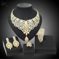 עיצוב כתר Yulaili אמריקה לבבות וחיצים טבעי למעלה מעוקב Zirconia מסיבת ערכות תכשיטי טבעת עגילי צמיד שרשרת
