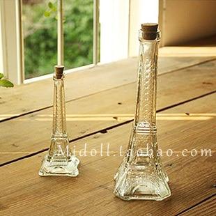 Wholesale Cheap Economic Hot Sale Eiffel glass eiffel tower decoration cork bottle vase perfume bottle wishing bottle