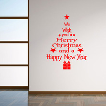 M-12 DIY Red Black White Letters Xmas Tree wall sticker Merry Christmas Decorative Wall Sticker Wall Decal Free Shipping