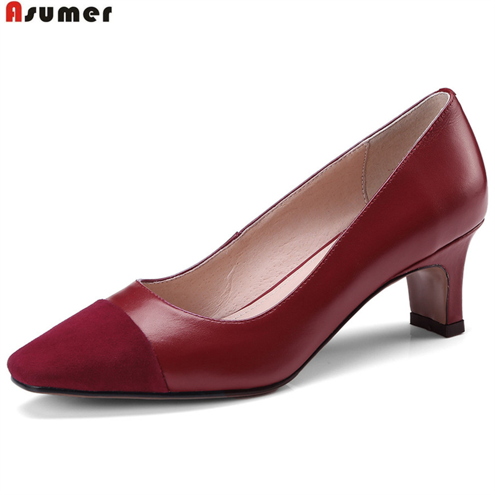 ASUMER wine red black square toe shallow fashion spring autumn ladies shoes women natural genuine leather high heels shoes asumer black wine red 2018 spring autumn ladies pumps pointed toe shallow elegant dress shoes women high heels shoes size 43