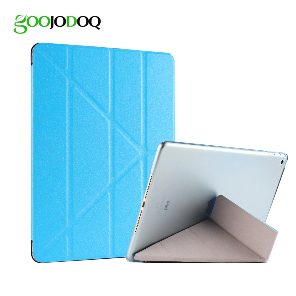 цена на For iPad Air 2 Air 1 Case, Slim Slik PU Leather Transparent PC Hard Back with 5 Shapes Stand Smart Cover Case for iPad Air / 5 6