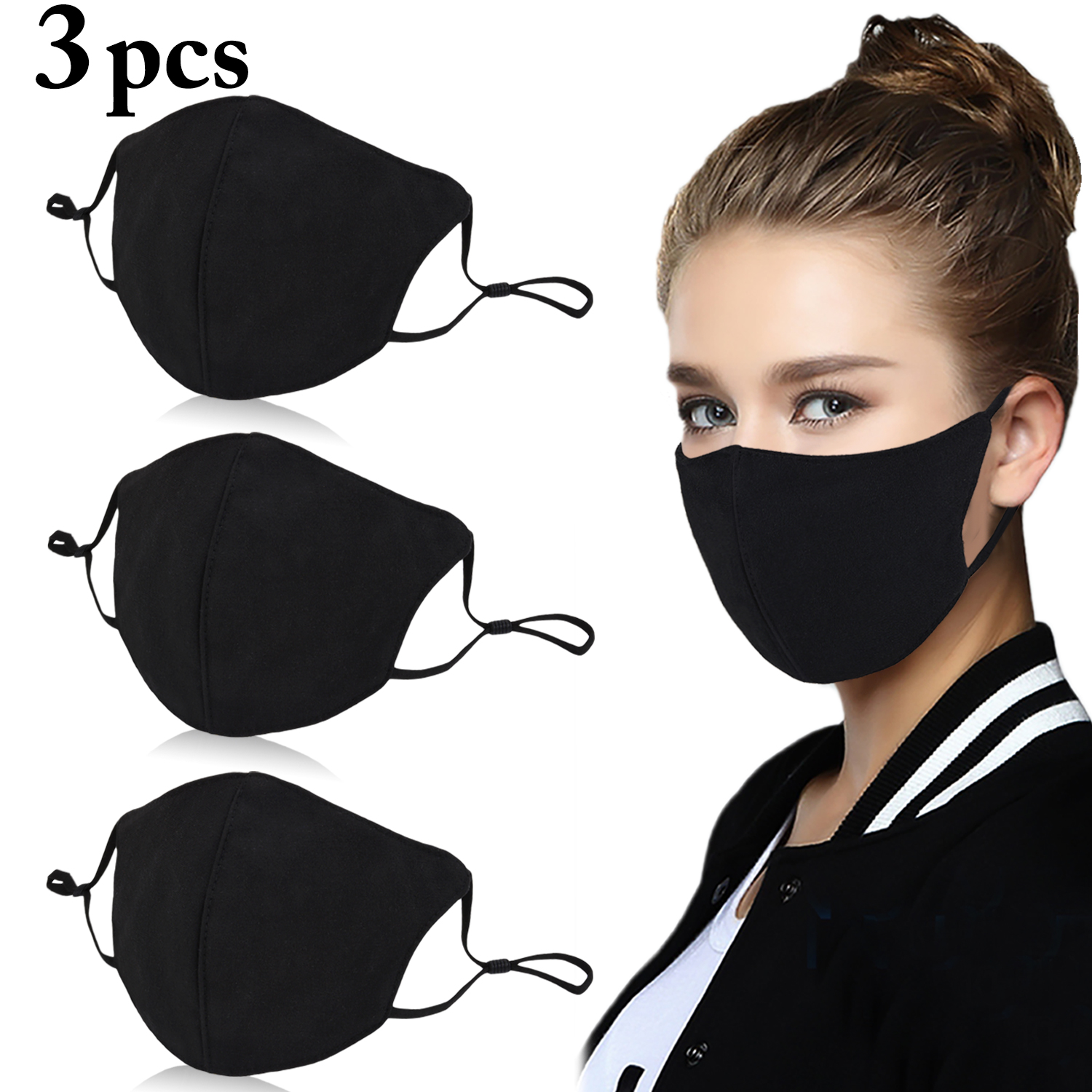 3Pcs Women Black Bilayer Cotton Mouth Mask Anti Haze Dust Washable Reusable Double Layer Dustproof Mouth-muffle Winter Warm Mask