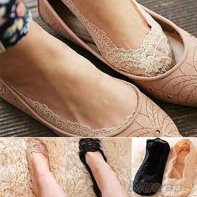 2016 neue Mode frauen Baumwolle Spitze Antiskid Invisible Liner Low Cut Socken